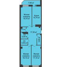 3 комнатная квартира 103,1 м², ЖК Крылья Ростова - планировка