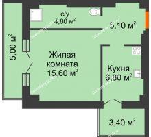 1 комнатная квартира 40,7 м² в ЖК Парк Островского 2, дом № 2 - планировка