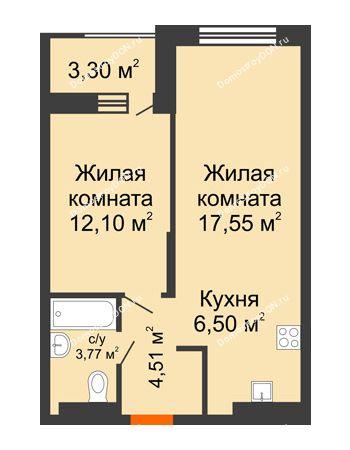 2 комнатная квартира 46,08 м² - ЖК ПАРК