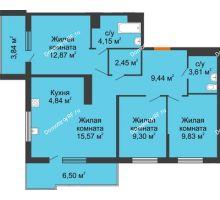 3 комнатная квартира 75,9 м² в ЖК Все свои, дом Литер 5 - планировка