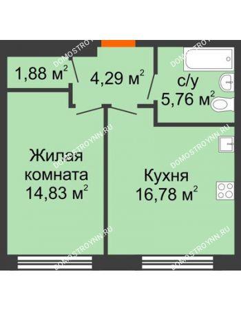 1 комнатная квартира 43,54 м² в ЖК Маленькая страна, дом № 4