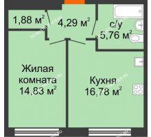 1 комнатная квартира 43,54 м² в ЖК Маленькая страна, дом № 4 - планировка
