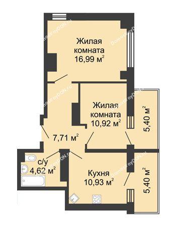 2 комнатная квартира 54,51 м² в ЖК Мега, дом № 2