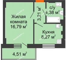 1 комнатная квартира 34 м² - ЖК Семейный