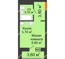Студия 21,2 м² в ЖК НОРД, дом № 13 - планировка