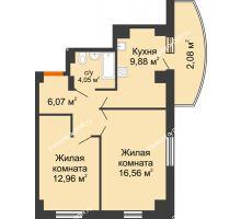 2 комнатная квартира 51,76 м² в ЖК Университетский 137, дом Секция С1 - планировка