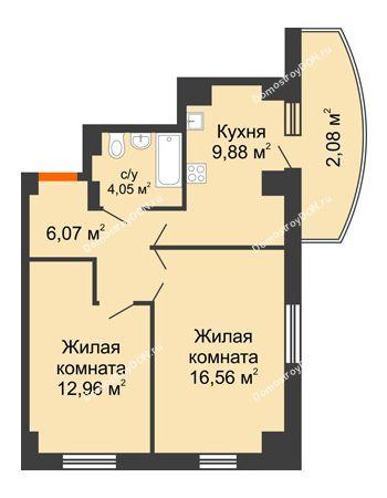 2 комнатная квартира 56,6 м² в ЖК Университетский 137, дом Секция С1
