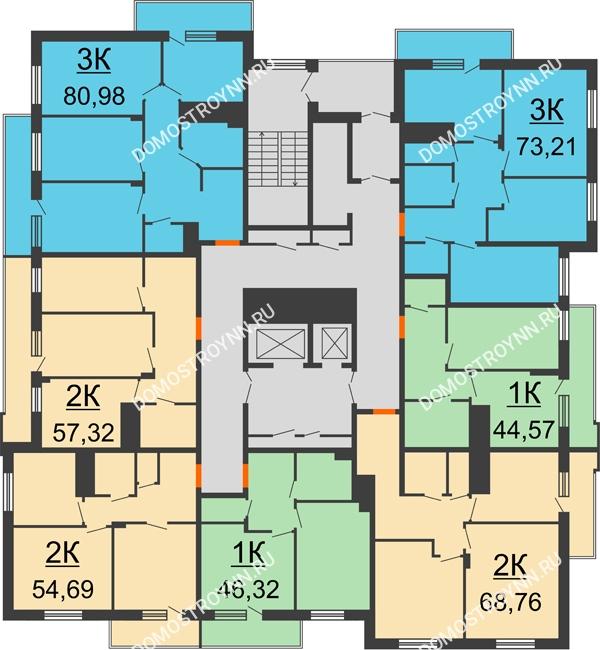 Планировка 8 этажа в доме № 6 в ЖК Циолковский