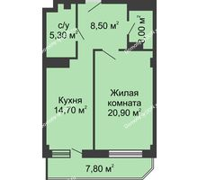 1 комнатная квартира 56,1 м², ЖК Крылья Ростова - планировка