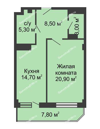 1 комнатная квартира 56,1 м² - ЖК Крылья Ростова