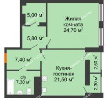 1 комнатная квартира 74,51 м² в ЖК Георгиевский, дом 2а - планировка