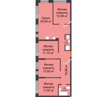 """4 комнатная квартира 95,03 м² в Микрорайон Звездный, дом ГП-1 (Дом """"Меркурий"""") - планировка"""