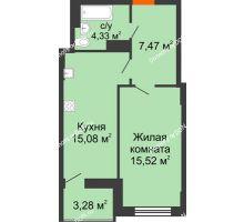1 комнатная квартира 44,04 м² в ЖК Аврора, дом № 2 - планировка