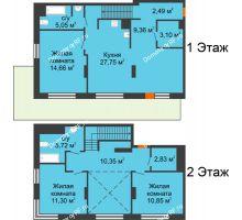 3 комнатная квартира 103,46 м² в ЖК Октябрьский, дом ГП-3 - планировка