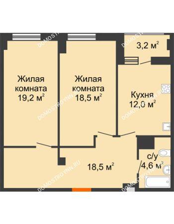 2 комнатная квартира 74,4 м² в ЖК Квартет, дом № 3