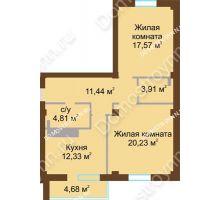 2 комнатная квартира 72 м² в ЖК На Победной, дом № 12 - планировка