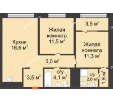 2 комнатная квартира 58,1 м² в Квартал Новин, дом 6 очередь ГП-6 - планировка