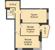 2 комнатная квартира 58,24 м² в ЖК Сердце Ростова 2, дом Литер 2 - планировка
