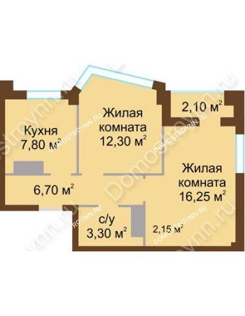 2 комнатная квартира 47,4 м² - ЖК Северный Дворик