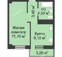 1 комнатная квартира 33,96 м² в Микрорайон Европейский, дом №9 блок-секции 1,2 - планировка