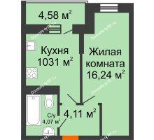 1 комнатная квартира 37,02 м² в ЖК Россинский парк, дом Литер 1 - планировка