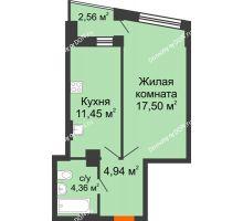 1 комнатная квартира 39,31 м² в ЖК Рубин, дом Литер 3 - планировка