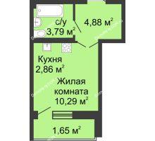 Студия 24,99 м² в ЖК Соловьиная роща, дом № 7 - планировка