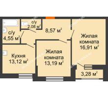2 комнатная квартира 57 м², Жилой дом: ул. Сухопутная - планировка