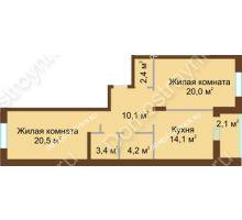 2 комнатная квартира 76,8 м² в ЖК Монолит, дом № 89, корп. 1, 2 - планировка