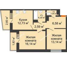 2 комнатная квартира 61,75 м² в ЖК Мой город, дом Литер 3 - планировка
