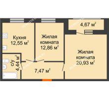 2 комнатная квартира 62,92 м² в ЖК Подкова на Гагарина, дом № 2 - планировка