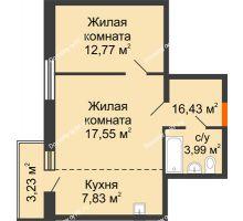 2 комнатная квартира 46,89 м² в ЖК Бограда 109, дом № 2 - планировка