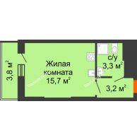 Студия 26 м², ЖК Космолет - планировка