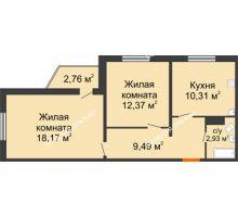 2 комнатная квартира 54,1 м² в ЖК Торпедо, дом № 19 - планировка