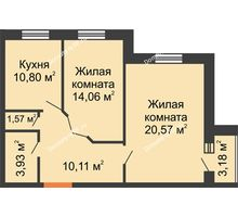 2 комнатная квартира 62,63 м², ЖК Парк Металлургов - планировка
