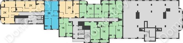 Планировка 8 этажа в доме № 5 в ЖК Караваиха