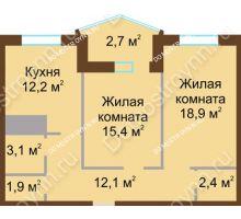 2 комнатная квартира 68,7 м² в ЖК Монолит, дом № 89, корп. 1, 2 - планировка