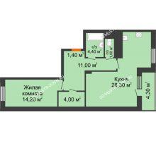 1 комнатная квартира 67,05 м² в ЖК Корица, дом № 1 - планировка