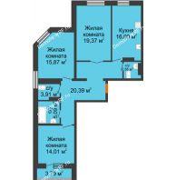 3 комнатная квартира 99,09 м², ЖК Адмиралъ - планировка