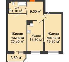 2 комнатная квартира 70,6 м² в ЖК Звездный, дом № 6 - планировка