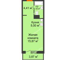 Студия 33,25 м² в ЖК Рассвет, дом № 4 - планировка