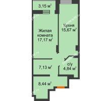 1 комнатная квартира 56,4 м² в ЖК Континент, дом № 16 - планировка