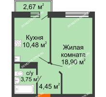 1 комнатная квартира 38,38 м² - ЖК Зеленый берег Life