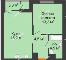 1 комнатная квартира 40,4 м², Жилой дом Фамилия - планировка