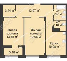 2 комнатная квартира 67,44 м² в ЖК Караваиха, дом № 5 - планировка