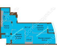 3 комнатная квартира 119,1 м² в ЖК Монолит, дом № 89, корп. 1, 2 - планировка