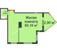 Студия 72,86 м² в ЖК Элегант, дом Литер 11 - планировка