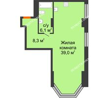 Студия 53,4 м², Комплекс апартаментов KM TOWER PLAZA (КМ ТАУЭР ПЛАЗА) - планировка