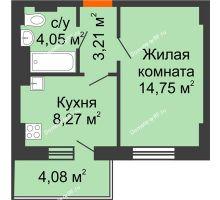 1 комнатная квартира 31,51 м² - ЖК Семейный