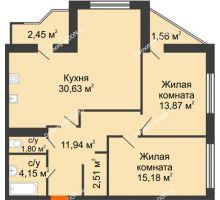 2 комнатная квартира 84,09 м² в Микрорайон Красный Аксай, дом Литер 21